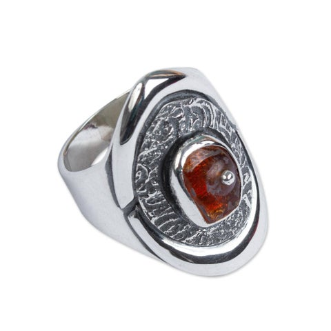 Handmade Sterling Silver 'Honey Sea' Amber Cocktail Ring (Mexico)