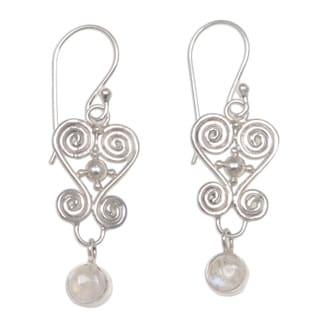 Handmade Sterling Silver 'Sweethearts' Moonstone Earrings (Indonesia)