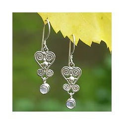 Sterling Silver 'Sweethearts' Moonstone Earrings (Indonesia)