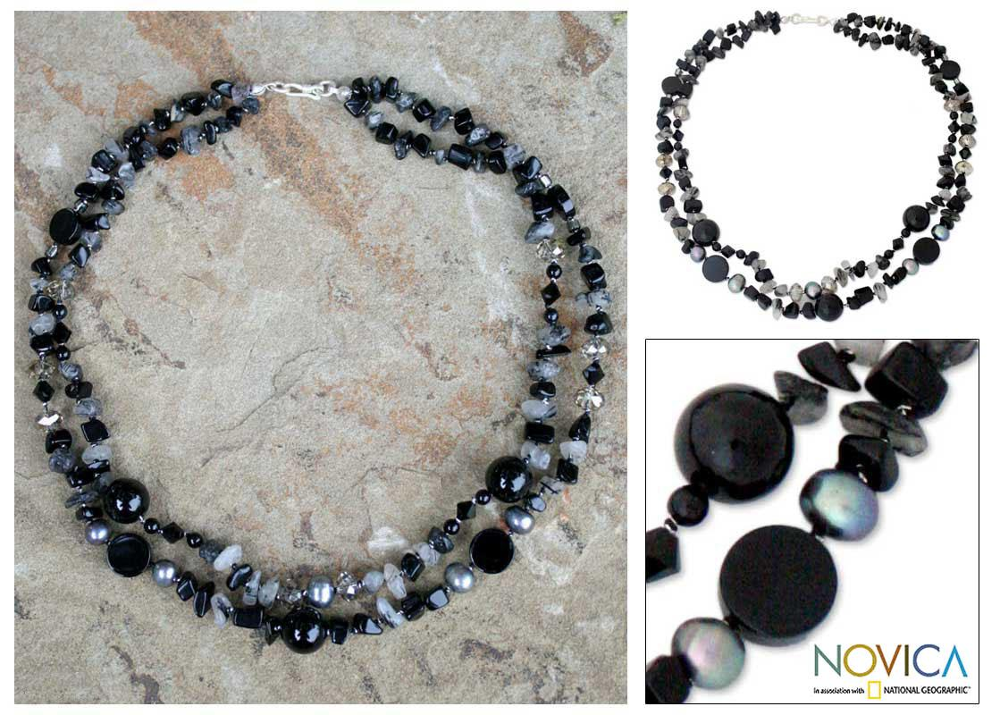 Handmade Silver 'Opulent Black' Onyx Pearl Necklace (8 mm) (Thailand)