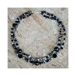Silver 'Opulent Black' Onyx Pearl Necklace (8 mm) (Thailand)
