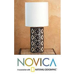 Handmade Ceramic 'Queen of Diamonds' Table Lamp (Mexico)