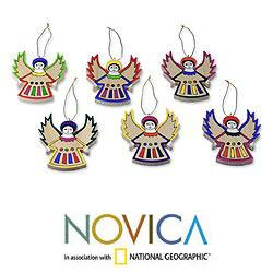 Set of 6 Pinewood 'Angel Song' Ornaments (El Salvador)