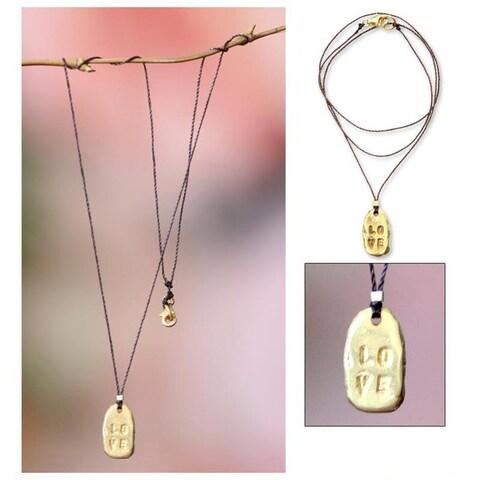 Handmade Gold Overlay 'Love' Necklace (Indonesia)