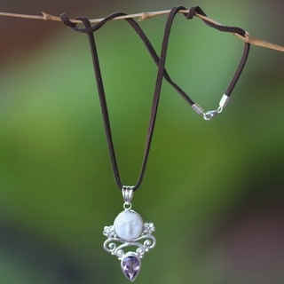 Handmade Sterling Silver 'Guardian Moon' Amethyst Necklace (Indonesia)