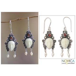 Sterling Silver 'Dedes' Garnet and Pearl Earrings (4 mm) (Indonesia)