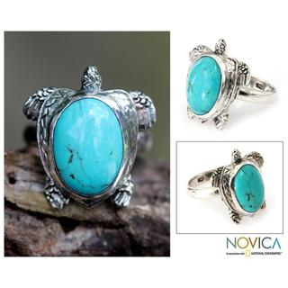 Handmade Sterling Silver Men's 'Chelonia Turtle' Turquoise Ring (Indonesia)