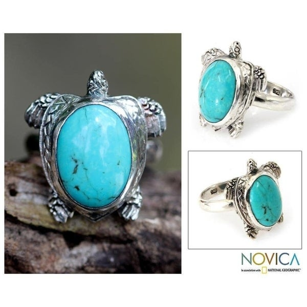 Handmade Sterling Silver Men's 'Chelonia Turtle' Turquoise Ring (Indonesia) - Blue