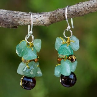Chiang Mai Melody Green Quartz Red Tigers Eye and Glass Beads 925 Sterling Silver Womens Cluster Dangle Earrings (Thailand)