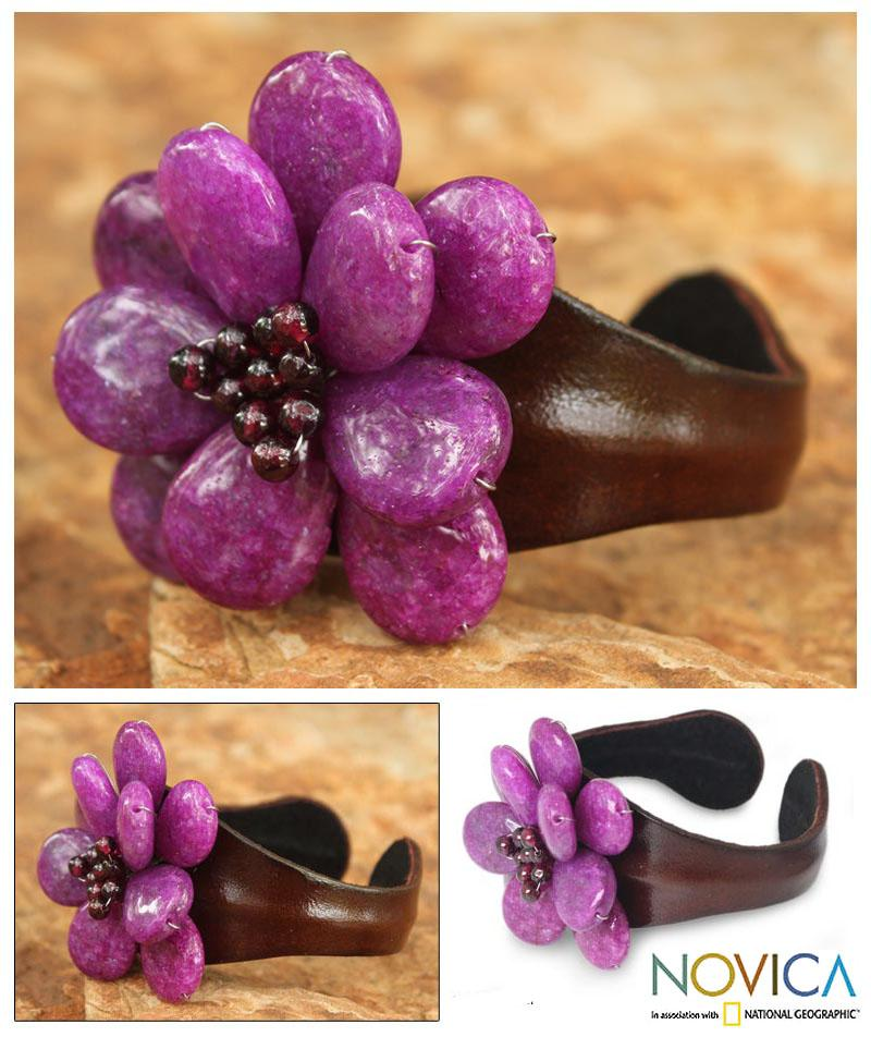 Handmade Stainless Steel 'Doi Inthanon Blossom' Leather Bracelet (Thailand)