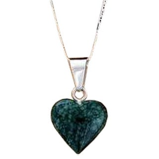 Handmade Sterling Silver 'Love Immemorial' Jade Heart Necklace (Guatemala)