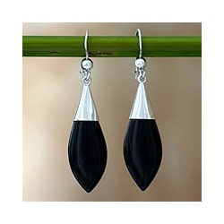 Sterling Silver 'Maya Lance of Night' Jade Earrings (Guatemala)