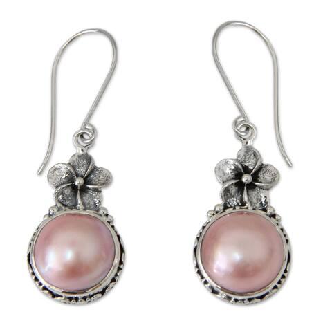 NOVICA Handmade Pink Frangipani Sterling Silver Dangle Earrings (Indonesia)
