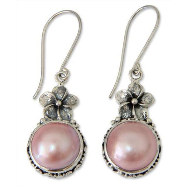 Handmade Pink Frangipani Vintage Style Antique Freshwater Pink Pearls .925 Sterling Silver Dangle Earrings (Indonesia)