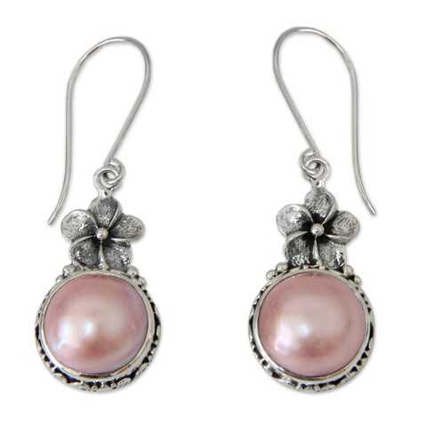 Pink Frangipani Vintage Style Antique Finish Romantic Freshwater Pink Pearls 925 Sterling Silver Dangle Earrings (Indonesia)