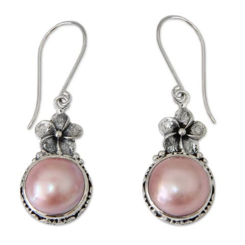 Pink Frangipani Vintage Style Antique Freshwater Pink Pearls .925 Sterling Silver Dangle Earrings
