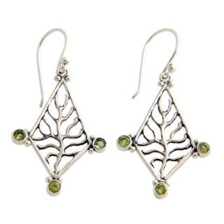 Handmade Sterling Silver 'Tree of Life' Peridot Earrings (Indonesia)