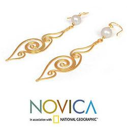 Gold Overlay 'Seashell' Pearl Dangle Earrings (8-8.5 mm) (Thailand)