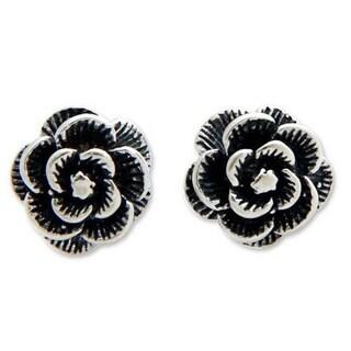 Handmade Sterling Silver 'Balinese Rose' Earrings (Indonesia)