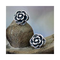 Sterling Silver 'Balinese Rose' Earrings (Indonesia)