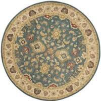 """Safavieh Handmade Jaipur Blue/ Beige Wool Rug - 3'6"""" x 3'6"""" round"""