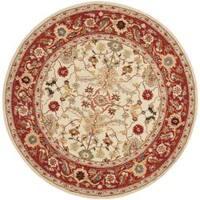"""Safavieh Hand-hooked Tabriz Ivory/ Red Wool Rug (5'6 Round) - 5'-6"""" x 5'-6"""" round"""