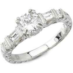 Victoria Kay 14k Gold 1/2ct TDW Designer Diamond and CZ Engagement Ring (H, SI1)