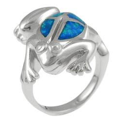 Journee Sterling Silver Blue Opal Jumping Frog Ring
