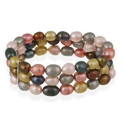 Glitzy Rocks Multi-colored FW Pearl 3-row Stretch Bracelet (7-9 mm)