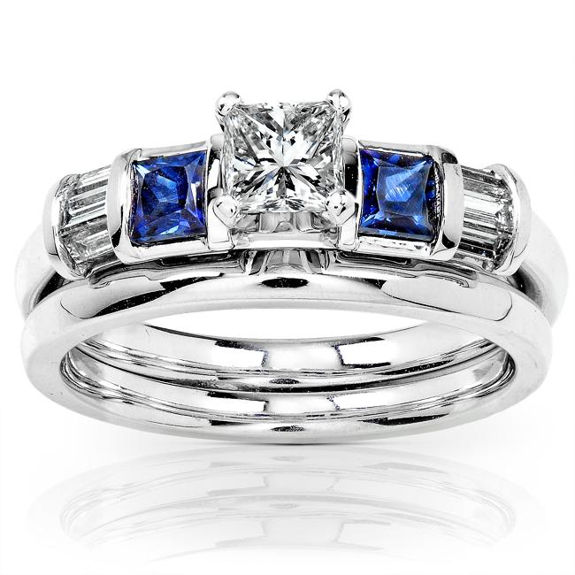 Annello by Kobelli 14k Gold 1/2ct TDW Diamond and Sapphire Bridal Ring Set (H-I, I1-I2)