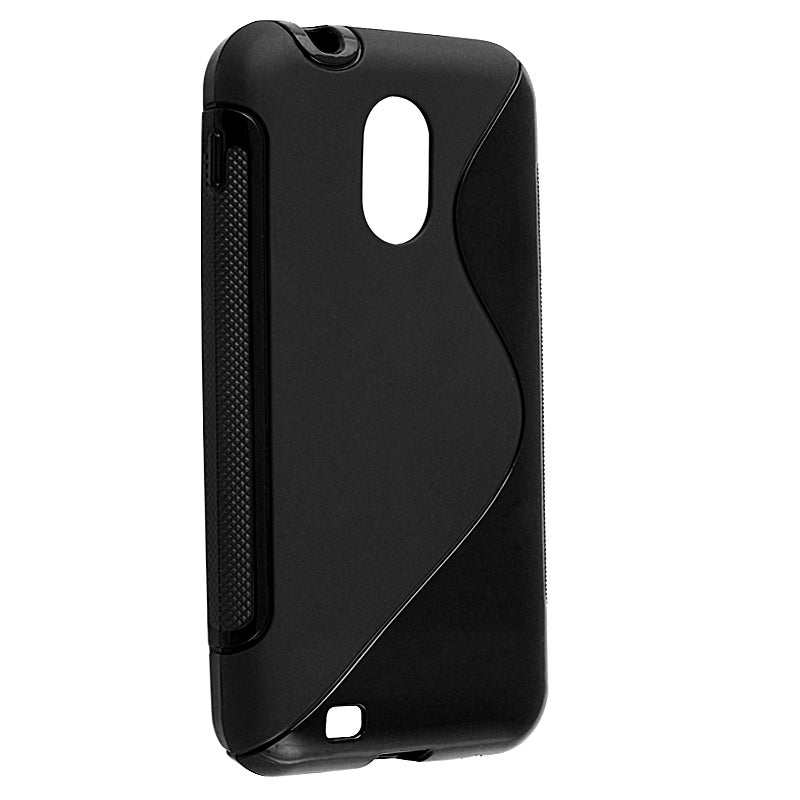 INSTEN Black S-shape TPU Rubber Skin Phone Case Cover for Samsung Epic 4G Touch D710