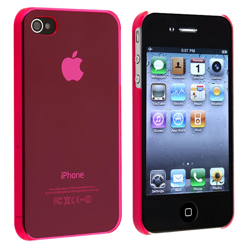 INSTEN Clear Pink Snap-on Slim-fit Phone Case Cover for Apple iPhone 4/ 4S