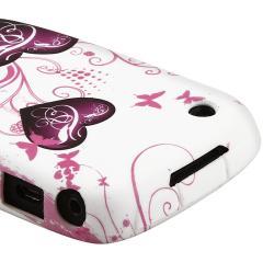 White/ Purple Twin Heart TPU Skin Case for BlackBerry Curve 8520/ 9300