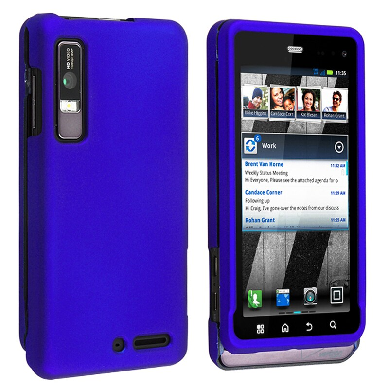 INSTEN Blue Snap-on Rubber Coated Phone Case Cover for Motorola Droid 3 XT862