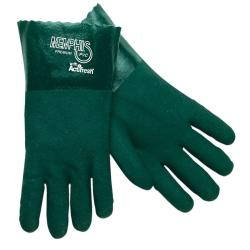 Premium Chemical-Resistant PVC Gloves, 14 in. Length, Large, Green, 12 Pairs