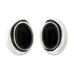 Handmade Sterling Silver 'Midnight Moon' Obsidian Button Earrings (Mexico)