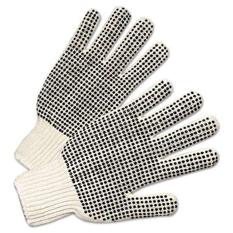 PVC-Dotted String Knit Gloves, Natural White/Black, 12 Pairs