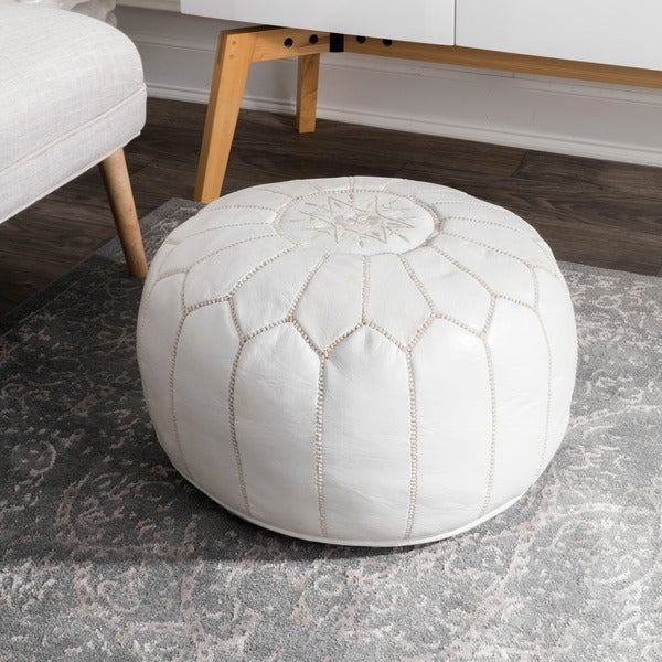 Oliver & James Araki Moroccan Leather Ottoman Pouf by Oliver & James