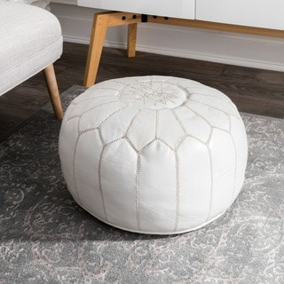 Oliver & James Araki White Leather Moroccan Ottoman Pouf