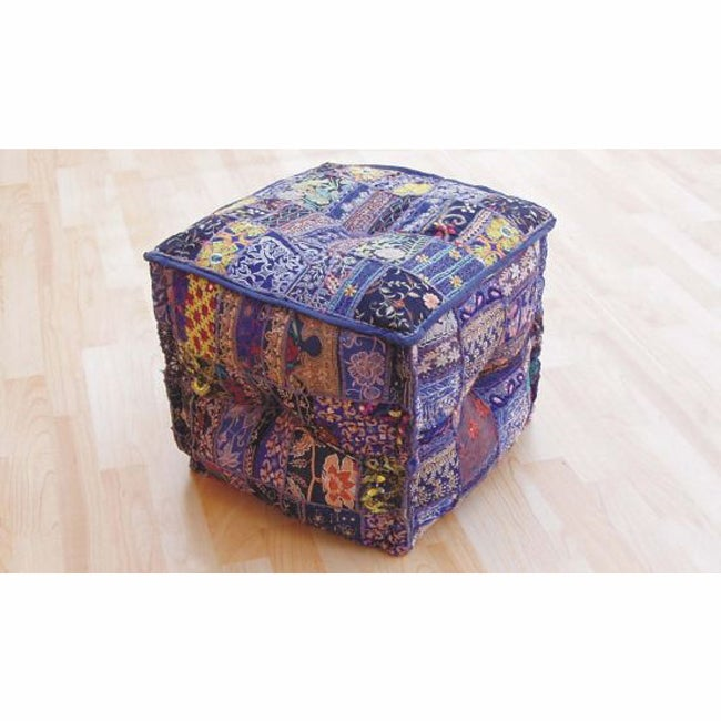 nuLOOM Handmade Casual Living Indian Square Ottoman Pouf