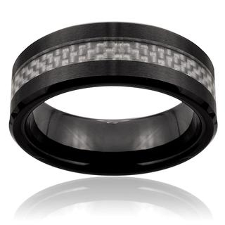 Black Ceramic Silver Carbon Fiber Inlay Ring