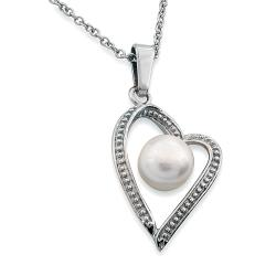 Stainless Steel White Faux Pearl Open Heart Necklace