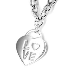 Stainless Steel 'Love' Heart Charm Necklace