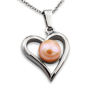 Stainless Steel Orange Faux Pearl Open Heart Necklace