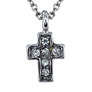 West Coast Jewelry Silver Tone Clear Crystal Cross Necklace