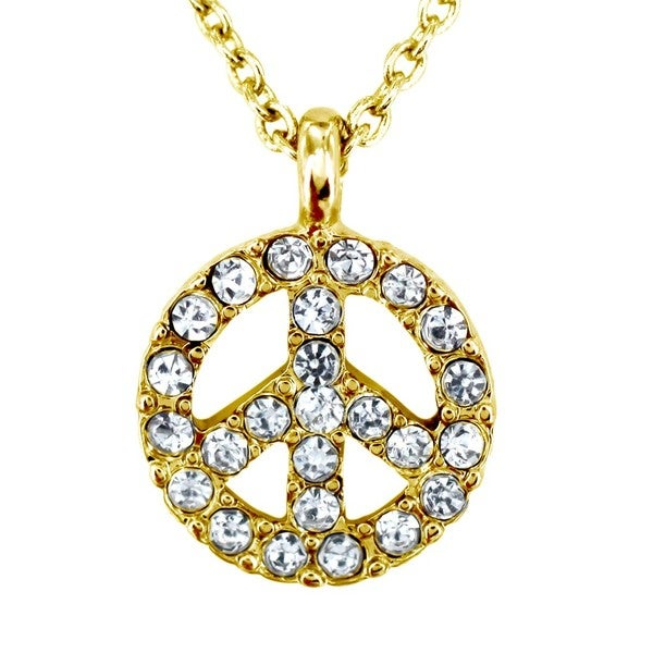 West Coast Jewelry Goldtone Clear Crystal Peace Symbol Charm Necklace