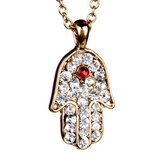 Goldtone Red and Clear Crystal Hamsa Necklace