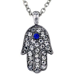 West Coast Jewelry Silvertone Hamsa Blue and Clear Crystal Necklace