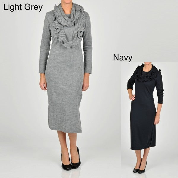 Lennie for Nina Leonard Women's Long Sleeve Ruffle Scarf Sweater Dress
