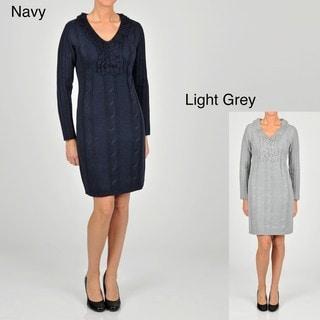 Lennie for Nina Leonard Women's Cable V-Neck Sweater Dress
